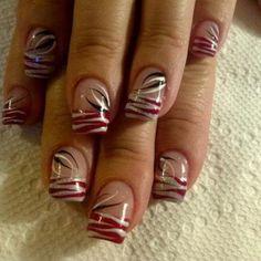 :) buckeye nails Nail Art by Baldwin Scott Gel Nail Tips, Gel Nails, Ohio State Nails, Football Nail Art, Zebra Nails, Galaxy Nails, Nail Jewelry, Pretty Nail Designs, Nail Shop