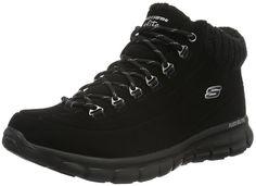 Skechers Women's Synergy Winter Nights Lace Up Shoe,Black,US 8 W