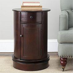 Safavieh Cape Cod Dark Cherry Swivel Wood Contemporary Storage Cabinet Drawers