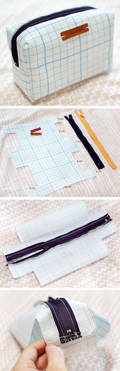 How to Make a Toiletry Bag is part of Fabric Crafts DIY Zipper Pouch - Small Make Up Bag Waterproof Fabric Case Zip Pouch Sewing Tutorial in Pictures Sewing Hacks, Sewing Tutorials, Sewing Patterns, Sewing Tips, Sewing Ideas, Bag Tutorials, Purse Patterns, Patchwork Patterns, Sewing Box