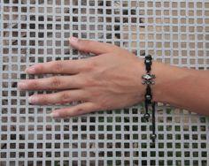 Macrame and beads bracelet in gothic style by NevelynkaNasha, $16.00