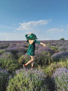 #lavenderfield #greenhair #emeraldhair #greendress #irinelufrommoldova Emerald Hair, Lavender Fields, Green Hair, Green Dress, Archive, Green Gown