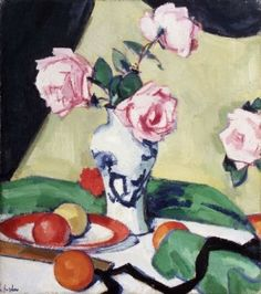 Still Life with Pink Roses and Fruit