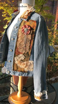 ON HOLD For Joanne Altered Couture - French Sugar Parisian Bohemian Tattered Gypsy Queen Jacket