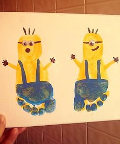 Minion Footprint Craft for Kids (Despicable Me) - Crafty Morning minion footprint craft If you have a passion for arts and crafts an individual will love this info! Daycare Crafts, Baby Crafts, Cute Crafts, Toddler Crafts, Crafts To Do, Daycare Rooms, Toddler Art, Preschool Crafts, Craft Projects
