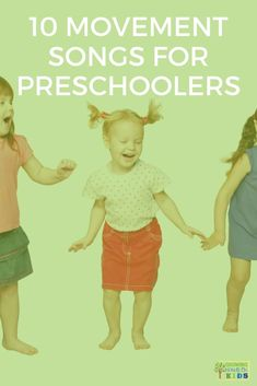 10 movement songs for preschoolers, perfect for brain breaks and getting the wiggles out! Movement Preschool, Preschool Music, Preschool Learning Activities, Preschool Classroom, Infant Activities, Kids Learning, Therapy Activities, Music Activities, Music Classroom