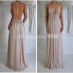 Silhouette: A-line Neckline: Spaghetti Straps Sleeve Length: Sleeveless Waist: Natural Back Details: Backless Hemline/Train: Floor-length Fabric: Chiffon Fully Lined: Yes Built-in Bra: Yes