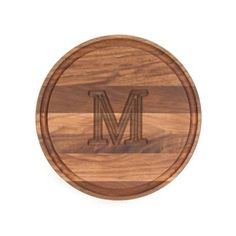 The BigWood Boards Small Monogrammed Cutting Board is a solid Walnut wood cutting board in a classic design. The beautiful carved monogram adds an element of personalization and makes this a special monogrammed wedding gift or monogrammed gift for an Cutting Board Material, Wood Cutting Boards, Wood Monogram Letters, 3d Laser Printer, Wood Circles, Block Lettering, Walnut Wood, Wood Blocks, Cheese