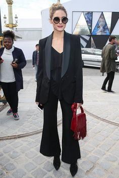 You can't go wrong with a tuxedo for the ultimate polished and sleek vibe. On Olivia Palermo: Elie Saab jacket and tank top.