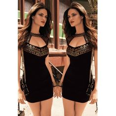 USD10.99Cheap Sexy Tank Sleeveless Front Open-work Gold Studs Embellished Black Polyester Sheath Mini Dress