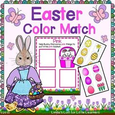 """FREEBIE! Reinforce color recognition and sorting by color with this simple and engaging """"Easter Color Match"""" activity. Children will identify colors and place pictures on the appropriate color mat. Visit my site to download this free activity!"""