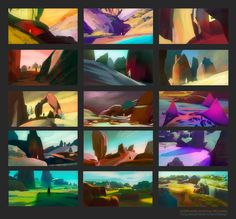ArtStation - Mixed 3D/2D environment thumbnails, Stéphane Wootha Richard
