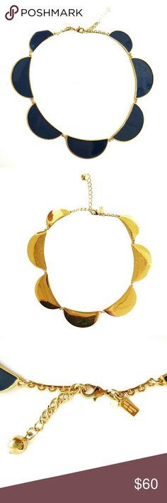 Kate Spade navy and gold statement necklace Kate Spade navy and gold statement necklace. Scratching on backside. So cute!! kate spade Jewelry Necklaces