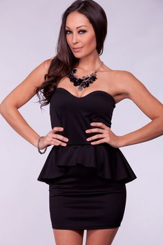 BLACK SWEETHEART PEPLUM RUFFLE DRESS
