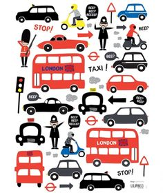 London traffic http://www.lilipinso.com/fr/planche-stickers-london-traffic