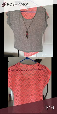 Short sleeve gray/pink top lace back with necklace Really cute summery top! Gray in the front pink in the back with decorative necklace. Never wore it! NWOT say anything Tops
