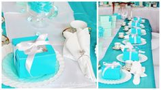 Fancy Tiffany Theme Tea Party --Frosted Events wwwfrostedeventscom  #tiffanys #kidsparty #tiffanyblue