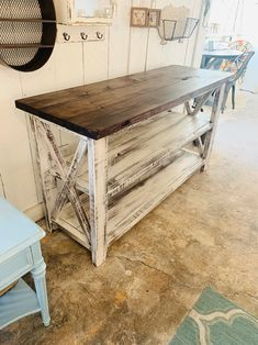 Rustic Wooden Buffet Table, Rustic Console Table, Farmhouse Buffet Table, Distressed White Base and Red Mahogany Top Rustic Farmhouse Furniture, Farmhouse Buffet, Farmhouse Coffee Tables, White Farmhouse Table, Farmhouse Interior, Vintage Farmhouse, Country Farmhouse, Modern Interior, Farmhouse Table