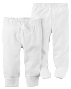 Two essential pairs in one pack! With banded cuffs and built-in footies, these babysoft cotton pants are baby's everyday must-haves.