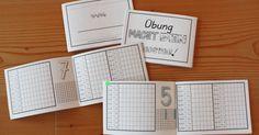 1 mal 1 Hefterl         Das fertige Heft hat das Format A6 quer.   Auf jeder Doppelseite findet ihr links die Malreihe, die Zahl zum Anma...