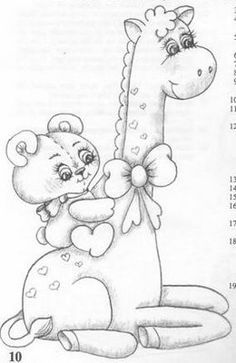 T T bear riding Giraffe child's card Baby Painting, Tole Painting, Fabric Painting, Coloring Book Pages, Coloring Sheets, Embroidery Patterns, Hand Embroidery, Digi Stamps, Cute Illustration