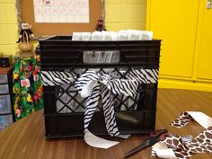 Some ribbon and a milk crate turn into a cute classroom storage box for a set of notebooks!  #storage #classroom #milkcrate