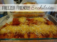 These freezer-friendly enchiladas are reserved for special occasions in our house. They're my husband's favorite and my boys devour them, but I'm not going to lie–they take some time to prepare. It takes me about a whole kids' nap time to get them ready for the oven. (I measure time by kids' naps–gotta love this …