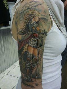 Carlos Rubio tattooed this Valkyrie. #InkedMagazine #tattoo #tattoos #Inked #ink #art #valkyrie