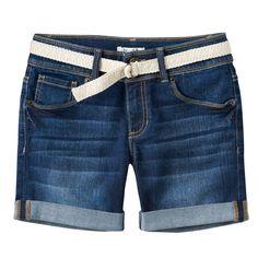 Plus Size Girls 7-16 Mudd® Belted Dark Wash Midi Jean Shorts, Size: 12 1/2, Blue