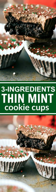 THREE INGREDIENT easy, no-bake Chocolate THIN MINT cups via chelseasmessyapron.com