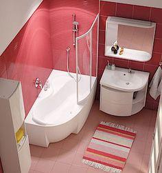 Chytré řešení, které vytěží z prostoru koupelny maximum, je koncept Rosa založený na asymetrické vaně. Patří k nejoriginálnějším a nejoblíbenějším řešením.