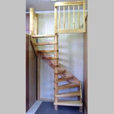Rustic Natural Wooden Spiral Stairs For Small Space For Home Interior As Well Gray Tile Floor And Beige Painting Wall Beside Stairs Cool Spiral Stair for Small Space Ideas and Inspirations for You Interior Design, Home decoration