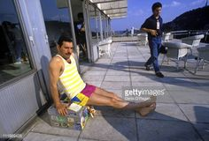 Singer Freddie Mercury (1946 - 1991, left), of British rock group Queen, at a hotel in Budapest, 1986.