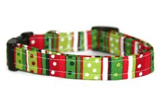 SALE Christmas Stripes Dog Collar by ALeashACollar on Etsy Handmade Dog Collars, Handmade Gifts, Mall, Stripes, Trending Outfits, Unique Jewelry, Dogs, Christmas, Accessories
