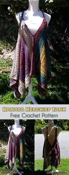 [Easy] Kanata Sleeveless Top - Free Crochet Pattern Kanata Kerchief Tank summer top Source by matildalori dresses summer T-shirt Au Crochet, Poncho Au Crochet, Pull Crochet, Mode Crochet, Crochet Shirt, Crochet Woman, Ravelry Crochet, Crochet Tank Tops, Crochet Sweaters