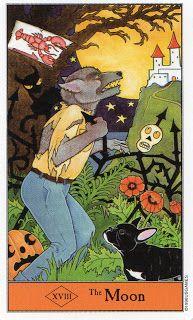 The Moon XVIII (Halloween Tarot by Kipling West)