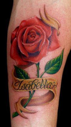 Realistic Red Rose Tattoo - Megan Massacre http://tattoosflower.com/realistic-red-rose-tattoo-megan-massacre/