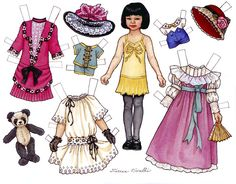 Paper Doll by THERESA BORELLI for Martha Pullen Company. These are from calendars and are digest versions of sets that originally appeared in Sew Beautiful and Fancywork magazines. Paper Toys, Paper Crafts, Ephemeral Art, Paper Dolls Printable, Vintage Paper Dolls, Beautiful Children, Vintage Advertisements, Doll Toys, Diwali