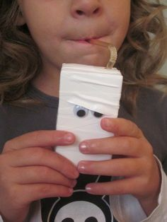 Covered juice box. ***For VERY young children, I would draw the eyes.  The googly eyes would be a danger.