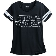Star Wars Logo Burnout Football Tee for Women (105 BRL) ❤ liked on Polyvore featuring tops, t-shirts, burnout top, scoop neck t shirt, sheer t shirt, scoop neck top and sheer tee