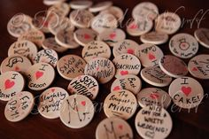 BADGES FOR GUESTS .. HOME MADE .. AT ROWENA AND WILLIAM'S ELLINGHAM HALL WEDDING IN NORTHUMBERLAND ENGLAND - PHOTOGRAPHY BY DIRK VAN DER WERFF