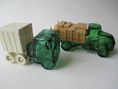 Vintage Avon Truck Cologne Bottle Pair