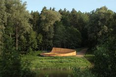 Pedestrian path and view terrace in Park of Senses in Valmiera is designed to provide comfortable access to river Gauja. The pedestrian gravel road of l. Wooden Path, Conceptual Architecture, Asphalt Road, Gravel Path, Flood Zone, Water Pipes, Urban Planning, Pedestrian, Pathways