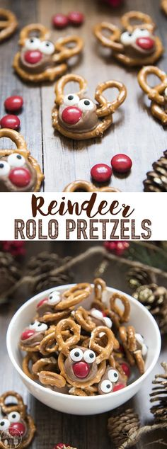 Rolo Pretzel Reindeer are not only a delicious sweet and salty treat, but they a. - Rolo Pretzel Reindeer are not only a delicious sweet and salty treat, but they are adorable, and fun, and perfect for the Christmas season! Christmas Pretzels, Christmas Party Food, Christmas Cooking, Homemade Christmas, Holiday Dinner, Christmas Candy Crafts, Christmas Biscuits, Reindeer Christmas, Christmas Goodies