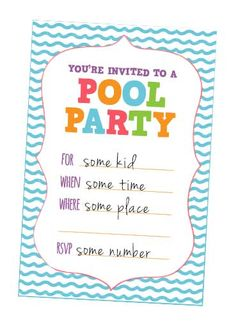 pool party invites - free printable kids party invites from www, Party invitations