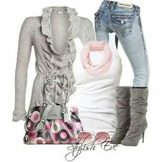 Love the pink and gray