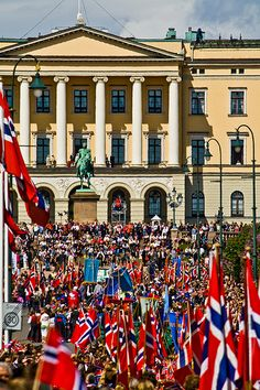 Syttende mai, celebrated here in Oslo with a children's parade up to the King and Palace.