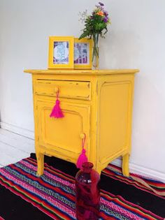 Preserving History in Style With Repurposed Furniture Creative Furniture, Decor, Home Decor Furniture, Repurposed Furniture, Sand Painted Furniture, Diy Furniture, Painted Furniture, Yellow Furniture, Funky Painted Furniture