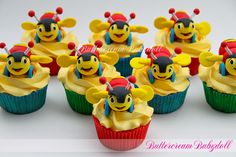 I made these Buzzy Bees (based on an iconic kiwi toy) to go with my little mans first Birthday Cake. The Buzzy Bees are completely hand made from fondant by me :) Boys 1st Birthday Party Ideas, First Birthday Cakes, 1st Boy Birthday, Bee Cupcakes, Buzzy Bee, Colorful Birthday, Cake Art, Bees, First Birthdays