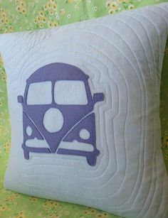 VW Bus Appliqued & Quilted Pillow by nzaloo, via Flickr